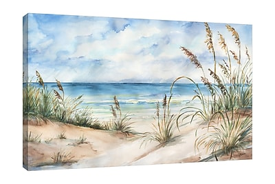 Highland Dunes 'Coastal Landscape' Watercolor Painting Print on Wrapped Canvas; 12'' H x 18'' W