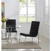 Orren Ellis J.J. Upholstered Dining Chair (Set of 2); Silver/Black