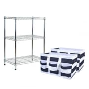 Tidy Living 3 Tier Wire Storage Rack w/ Utility Tote; Black/Teal