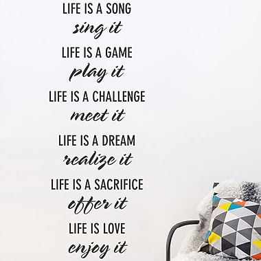 Wallums Wall Decor 'Life Is' Quote Wall Decal; Black