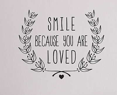 Wallums Wall Decor Smile Because You Are Loved Wall Decal; Black