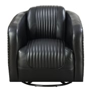 Red Barrel Studio Oakvale Swivel Barrel Chair; Black