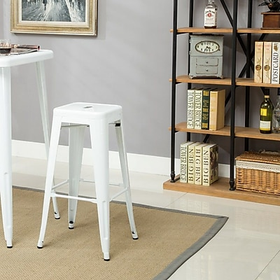 Ivy Bronx Felan Stackable All-Weather Rust-Resistant Metal 30'' Bar Stool (Set of 4); White
