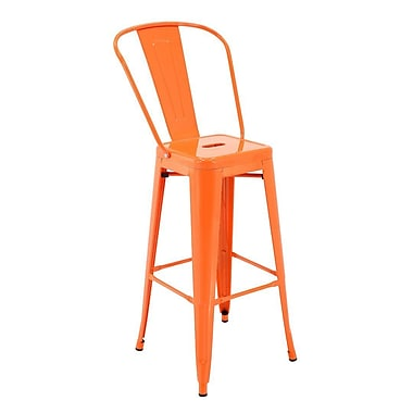 Ivy Bronx Feliciano Rust-Resistant Metal Patio 30'' Bar Stool w/ Back (Set of 4); Orange