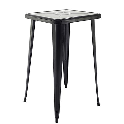 Ivy Bronx Felker Indoor and Outdoor Rust-Resistant Metal Bar-Height Dining Table; Black