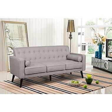George Oliver Valadez Mid Century Tufted Sofa; Light Brown