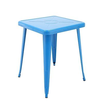 Ivy Bronx Feliz Indoor and Outdoor Rust-Resistant Metal Restaurant Coffee Table; Blue
