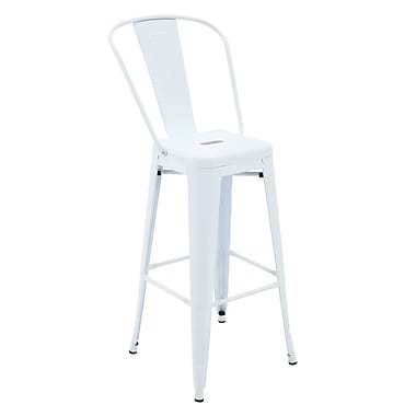 Ivy Bronx Feliciano Rust-Resistant Metal Patio 30'' Bar Stool w/ Back (Set of 4); White