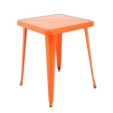 Ivy Bronx Feliz Indoor and Outdoor Rust-Resistant Metal Restaurant Coffee Table; Orange