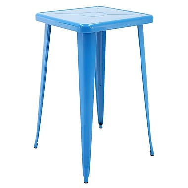 Ivy Bronx Felker Indoor and Outdoor Rust-Resistant Metal Bar-Height Dining Table; Blue