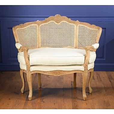 One Allium Way Fonso Cane Linen Chair and a Half; Pickled