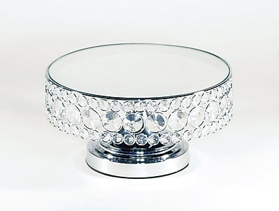 Opulent Treasures Bling Mirror Cake Stand; Silver