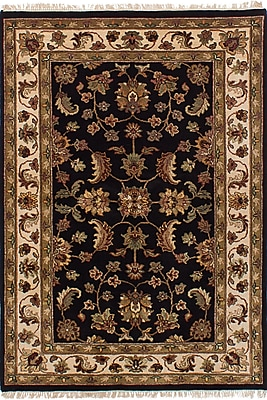 Darby Home Co Hounsfield Hand-Knotted Wool Rectangular Black Indoor Area Rug