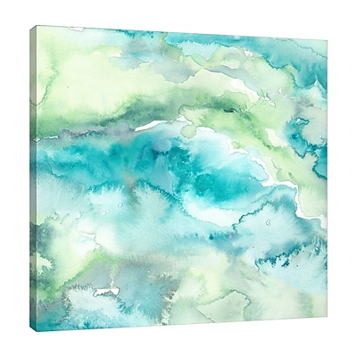 Varick Gallery 'Turquoise and Green Abstract' Watercolor Painting Print on Wrapped Canvas