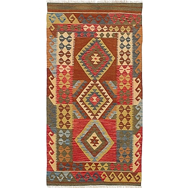 Loon Peak Olmsted Hand-Woven Wool Red Indoor Area Rug