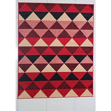 Ebern Designs Fernande Red Area Rug; Runner 2' x 7'2''