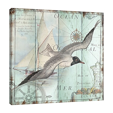 Highland Dunes 'La Mer: Seagull' Graphic Art Print on Wrapped Canvas; 18'' H x 18'' W