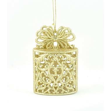 The Holiday Aisle Champagne Glitter Gift Box Hanging figurine