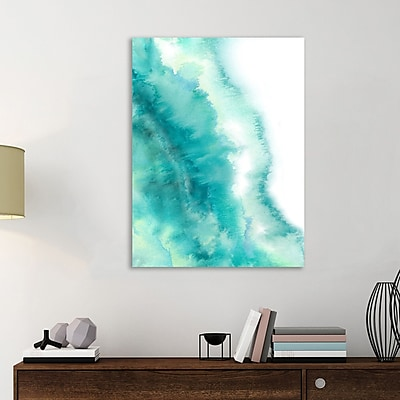 Varick Gallery 'Turquise and Green Marble Abstract' Watercolor Painting Print on Wrapped Canvas