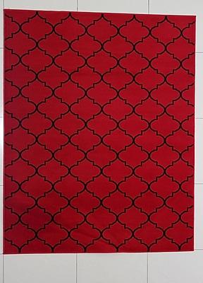 Winston Porter Hartsburg Red Area Rug; 7'11'' x 9'10''