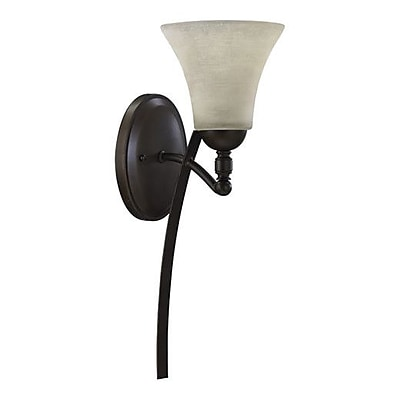 Alcott Hill Eastchester 1-Light Wall Sconce; Oiled Bronze w/ Satin Opal