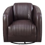 Red Barrel Studio Oakvale Swivel Barrel Chair; Chocolate