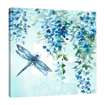 Alcott Hill 'Wisteria and Dragonfly' Print on Wrapped Canvas; 48'' H x 48'' W