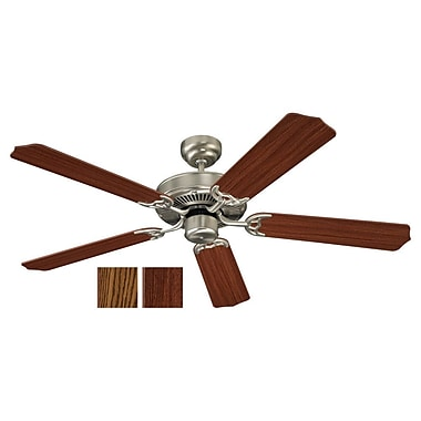 Alcott Hill 52'' Regner 5 Blade Fan; Chrome with Silver Blades