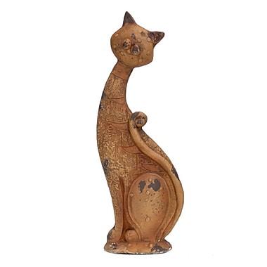 August Grove Harldson Fiber Stone Cat Statue