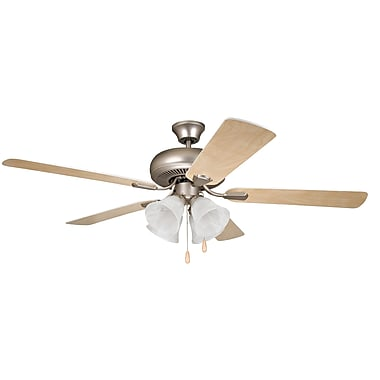 Alcott Hill 52'' Jeffcoat 5-Blade Fan; Brushed Pewter with Ash/White Blades