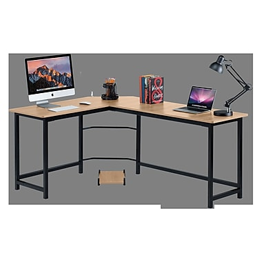 Red Barrel Studio Ohioville Stylish L-Shaped Computer desk; Beige/Black