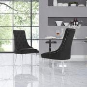 Everly Quinn Hannatou Foam Upholstered Dining Chair (Set of 2); Black