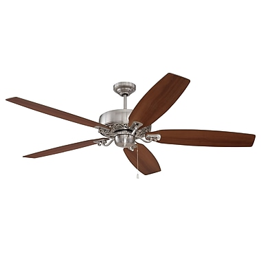 Darby Home Co 64'' Pittman 5-Blade Fan; Brushed Polished Nickel with Walnut/Maple Blades