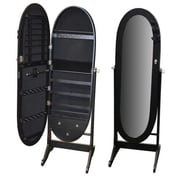 Darby Home Co Whitman Free Standing Jewelry Armoire w/ Mirror; Black