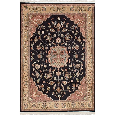 Darby Home Co Unionville Hand-Knotted Wool Black Indoor Area Rug