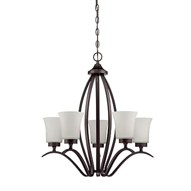 Red Barrel Studio Grampian 5-Light Shaded Chandelier; Aged Bronze Brushed