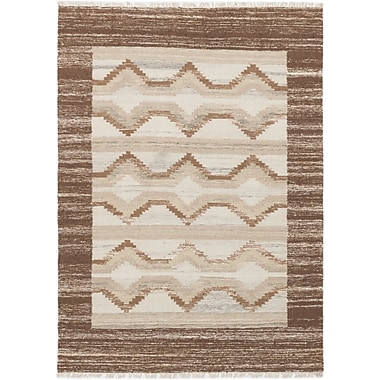 Union Rustic McPhail Hand-Woven Wool Brown/Cream Indoor Area Rug
