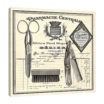 Williston Forge 'Apothecary Barber I' Graphic Art Print on Wrapped Canvas; 12'' H x 12'' W