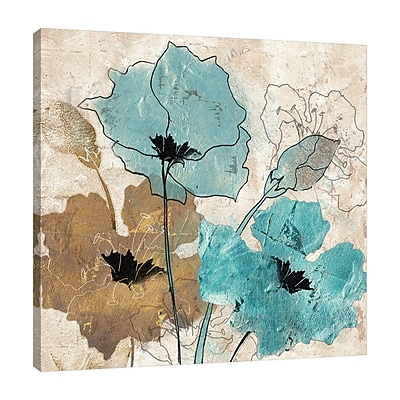Winston Porter 'Metallic Blue and Brown Poppies' Print on Wrapped Canvas; 12'' H x 12'' W