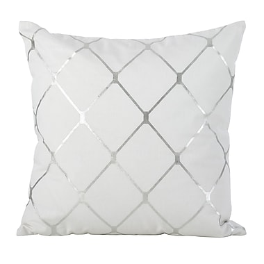 Mercer41 Sawyer Metallic Diamond 100pct Cotton Throw Pillow; Silver