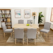 One Allium Way Edeline Country Styled 7 Piece Dining Set w/ Round Carved Legs; Light Gray