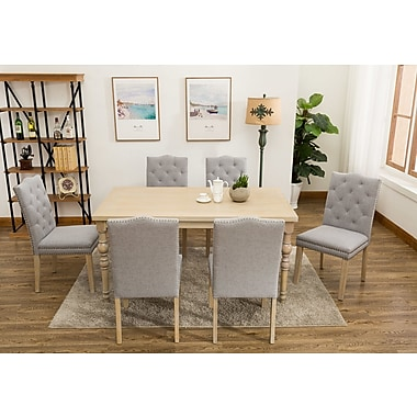 One Allium Way Edeline Country Styled 7 Piece Dining Set; Light Gray