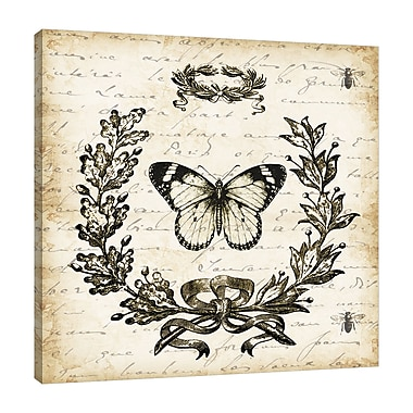 Ophelia & Co. 'French Laurel Wreath: Butterfly' Graphic Art Print on Wrapped Canvas; 30'' H x 30'' W