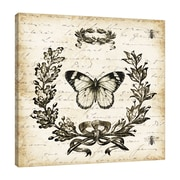 Ophelia & Co. 'French Laurel Wreath: Butterfly' Graphic Art Print on Wrapped Canvas; 24'' H x 24'' W