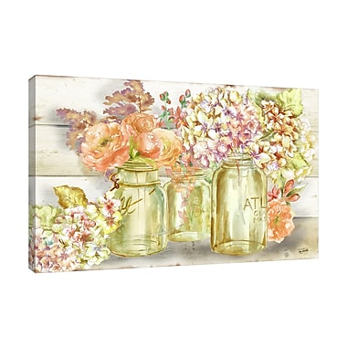 Ophelia & Co. 'Colorful Flowers In Mason Jar' Print on Wrapped Canvas; 12'' H x 18'' W