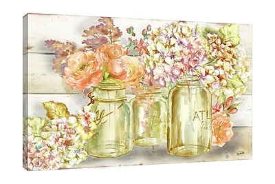 Ophelia & Co. 'Colorful Flowers In Mason Jar' Print on Wrapped Canvas; 10'' H x 15'' W