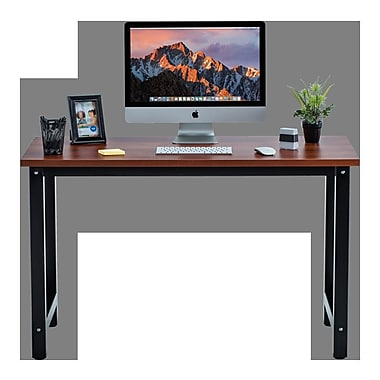Winston Porter Greenhalge Stylish Home Office Computer Desk; Teak/Black