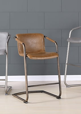 Union Rustic Weinrauch Upholstered Bar Stool (Set of 2); Antique Cigar Brown