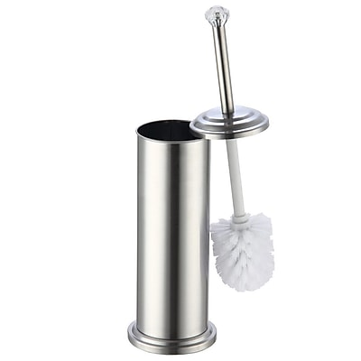 Sweet Home Collection Free Standing Toilet Brush Holder w/ Crystal Accent; Stainless Steel