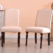 Alcott Hill Rexroad Classic Parson Upholstered Dining Chair (Set of 2); Beige